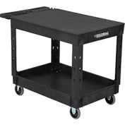 "Industrial Plastic 2 Flat Black Shelf Service & Utility Cart, 44"" x 25-1/2"", 5"" Rubber Casters"