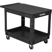 "Industrial Plastic 2 Flat Black Shelf Service & Utility Cart, 44"" x 25-1/2"", 5"" Rubber Casters"