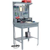 """Shop Desk w/ Pigeonhole Storage - Pegboard w/Shelf 34-1/2""""W x 30""""D x 38 to 42-1/2""""H- Flat Top -Gray"""