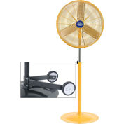 Deluxe Oscillating Pedestal Fan 30 Inch Diameter - Safety Yellow, 1/2HP w/ Free Fan Dolly