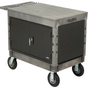 "Industrial Strength Plastic 2 Flat Shelf Maintenance & Utility Cart, 44"" x 25-1/2"", 8"" Pneumatic whl"