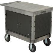 "Industrial Strength Plastic 2 Flat Shelf Maintenance & Utility Cart, 44"" x 25-1/2"", 8"" Pneumatic whl"
