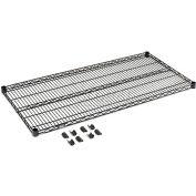 """Nexel® S2124B Black Epoxy Wire Shelf 24""""W x 21""""D with Clips"""