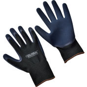 Global™ Double Foam Latex Coated Gloves, Black/Navy, Large, 1-Pair - Pkg Qty 12
