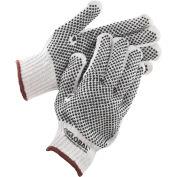 Global™ PVC Dot Knit Gloves, Double-Sided, Black, Large, 1-Dozen