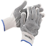 Global™ PVC Dot Knit Gloves, Double-Sided, Black, X-Large, 1-Dozen