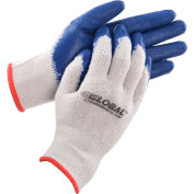 Global™ Latex Coated String Knit Work Gloves, Natural/Blue, Small, 1-Dozen