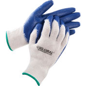 Global™ Latex Coated String Knit Work Gloves, Natural/Blue, Medium, 1-Dozen