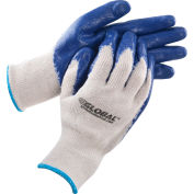 Global™ Latex Coated String Knit Work Gloves, Natural/Blue, X-Large, 1-Dozen