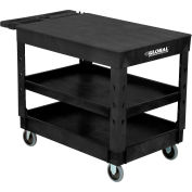 "Industrial Plastic Black 3 Flat Shelf Service & Utility Cart, 44"" x 25-1/2"", 5"" Rubber Casters"
