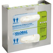 "Global™ Double Stainless Steel Glove Box Holder, 11""W x 3-3/4""D x 10""H"