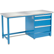 """72""""W x 30""""D Modular Workbench with 3 Drawers - Stainless Steel Square Edge - Blue"""