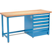 "72""W x 30""D Modular Workbench with 5 Drawers - Maple Butcher Block Square Edge - Blue"