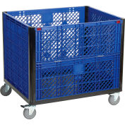 "Collapsible Vented Wall Bulk Container with Drop Gate and Casters 39-1/4""L x 31-1/2""W x 29""H, Blue"