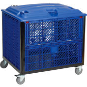 "Collapsible Vented Wall Bulk Container with Drop Gate, Lid and Casters 39-1/4""L x 31-1/2""W x 29""H"