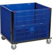 "Collapsible Solid Wall Bulk Container with Drop Gate and Casters 39-1/4""L x 31-1/2""W x 29""H, Blue"