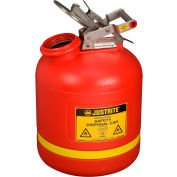 Justrite 14765 5 Gallon Safety Can, For Liquid Disposal, Polyethylene, Red