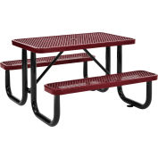 4 ft. Rectangular Outdoor Steel Picnic Table - Expanded Metal - Red