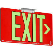 Dual-Lite DPLPM75DR Exit Sign, Red Aluminum Face & Back w/ Photoluminescent Letters, Double Face