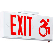 Hubbell-Compass CSEUDR LED Exit Sign with Battery & Accessibility Symbol, Red, Connecticut Approved