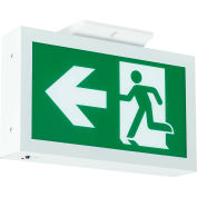 Hubbell-Compass RMEUWE-SD Running Man LED Exit Sign w/ Battery Back-Up & Self-Diagnostics, Green