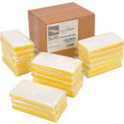 "Global Industrial™ Light Duty Scrub Sponge, Yellow/White, 3.25"" x 6.25"" - Case of 20 Sponges"