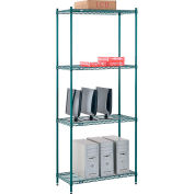"Nexel® Poly-Green™ Wire Shelving Starter, 36W"" x 12""D x 54""H"