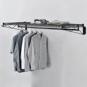 "Black Coat Rack with Bars - Wall Mount - 60""W x 24""D x 6""H"