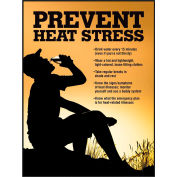 """Accuform SP125033L Safety Poster, PREVENT HEAT STRESS, 22""""H x 17""""W, Laminated Paper"""