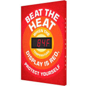 "Accuform SCK702 Heat Stress Temperature Sign, BEAT THE HEAT, 28""H x 20""W, Aluminum"