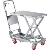 Global Industrial™ Stainless Steel Mobile Scissor Lift Table 27 x 17 - 400 Lb. Cap.