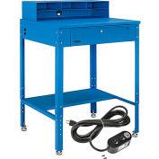 "Global Industrial™ Flat Surfaced Shop Desk w/ Riser & Outlets, 34-1/2""W x 30""D, Blue"