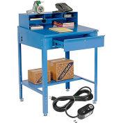 "Shop Desk with Pigeonhole Riser & Electrical Outlets 34-1/2""W x 30""D x 38""H Sloped Surface - Blue"