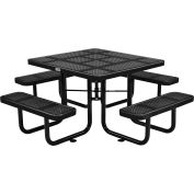 """46"""" Square Outdoor Steel Picnic Table - Perforated Metal - Black"""