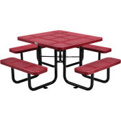 """46"""" Square Outdoor Steel Picnic Table - Perforated Metal - Red"""