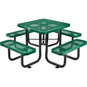 3 ft. Square Outdoor Steel Picnic Table - Expanded Metal - Green