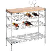 "Nexel® Chrome Wine Display Unit - Wood Top - 48""W x 14""D x 34""H - 4 Tier"