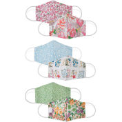 Reusable Cloth Face Mask, Washable, 3-Layer Contour, Reversible, Floral, Small, 3/Pack
