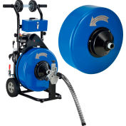 """Global Industrial™ Drain Cleaner For 4-9"""" Pipe W/ 5/8"""" & 3/4"""" x 100' Cables & Drums"""