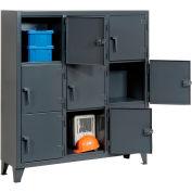 Strong Hold® Personnel Locker 55-18-3TMT - Multiple Tier 62x18x68 9 Doors Assembled Gray