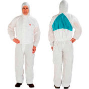 3M™ Disposable Coverall, Knit Cuffs, Attached Hood, White, 4X-Large, 4520-4XL, 20/Case