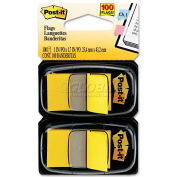 3M™ Post-it® Flags 680-YW2, 1 in Canary Yellow, 50 Flags/Dispenser, 2 Dispensers/Pack - Pkg Qty 4
