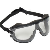 3M™ Gogglegear™ Safety Goggle With Strap, Clear Lens, Black Frame, Large