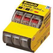 "Scotch® Double Sided Tape w/ Dispenser 3136, 1/2"" x 250"", 3 Rolls/PK"