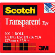 "Scotch® Transparent Tape 600, 1/2"" x 1296"", Boxed, 1"" Core, 1 Roll"