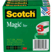 "Scotch® Magic™ Tape 810-72-3PK, 1"" x 2592"", 3"" Core, 3 Rolls/Pack"