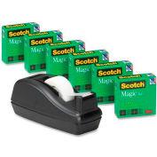 """Scotch® Magic™ Tape 3/4"""" x 1000"""", 6 Rolls & Black Tape Dispenser"""