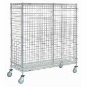 """Wire Shelf Security Truck, Poly-Z-Brite®, 24""""W x 60""""L x 69""""H, Polyurethane, 4 Swivel Casters"""