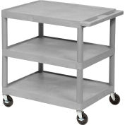 Luxor® HE34 Plastic Shelf Truck 24 x 18 x 34, 3 Shelves, Gray