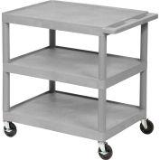 Luxor® HE34 Plastic Shelf Truck 24 x 18 x 34, 3 Shelves, Gray